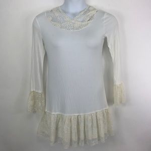 12pm by Mon Ami Ivory tunic with Lace